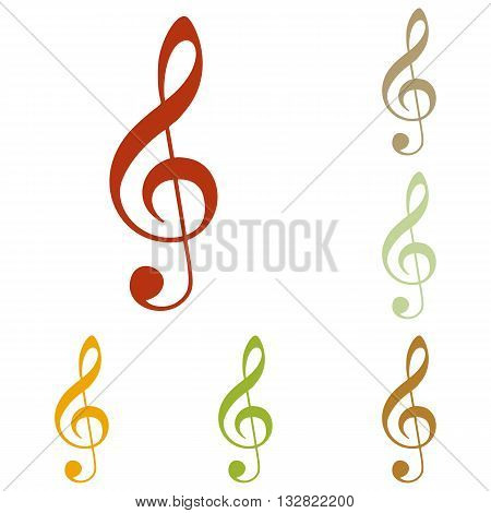 Music violin clef sign. G-clef. Treble clef. Colorful autumn set of icons.