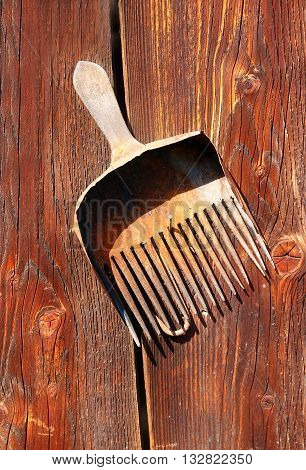 antique old style retro object assemblage on a wooden wall. rustic stile. Rake in blueberries