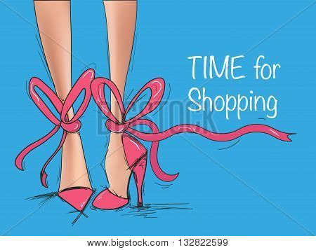 Sketch illustration with legs of woman in fashion summer shoes.Ladies legs in shoes.Beautiful female legs in pink shoes.