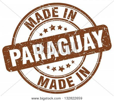 made in Paraguay brown round vintage stamp.Paraguay stamp.Paraguay seal.Paraguay tag.Paraguay.Paraguay sign.Paraguay.Paraguay label.stamp.made.in.made in.