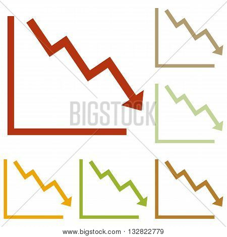 Arrow pointing downwards showing crisis. Colorful autumn set of icons.