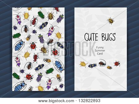 Summer Cards With Funny Insects.