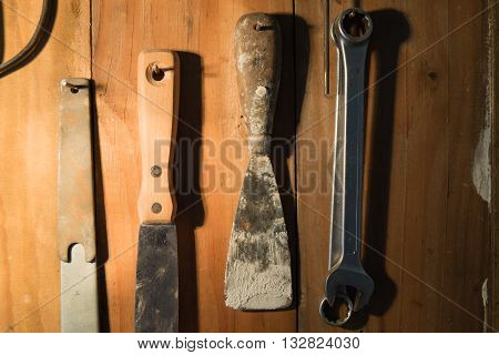 Hand Tool background. Industrial background. Bricolage tools.