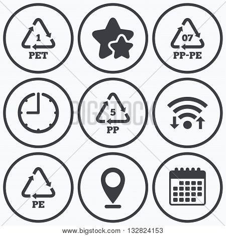 Clock, wifi and stars icons. PET 1, PP-pe 07, PP 5 and PE icons. High-density Polyethylene terephthalate sign. Recycling symbol. Calendar symbol.