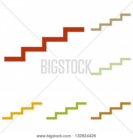 Stair up sign. Colorful autumn set of icons.