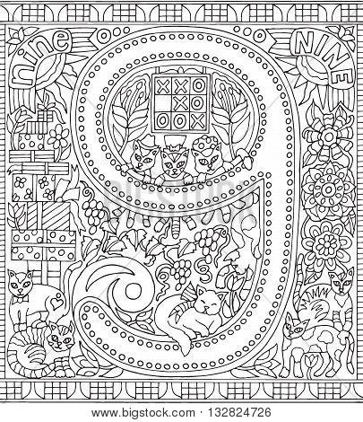 Adult Coloring Book Poster Number 9 Nine Black and White Vector Illustration Alphabet Letter Wall Art