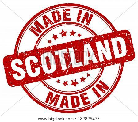 made in Scotland red round vintage stamp.Scotland stamp.Scotland seal.Scotland tag.Scotland.Scotland sign.Scotland.Scotland label.stamp.made.in.made in.