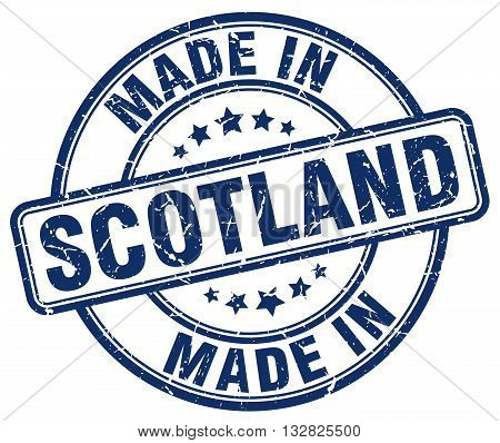 made in Scotland blue round vintage stamp.Scotland stamp.Scotland seal.Scotland tag.Scotland.Scotland sign.Scotland.Scotland label.stamp.made.in.made in.