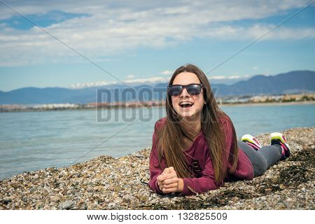 the beautiful lovely girl was photographed by the sea