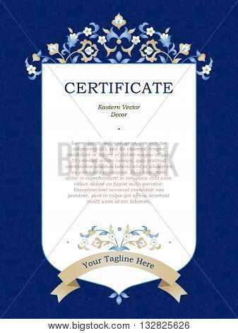 Certificate Template In Eastern Style.