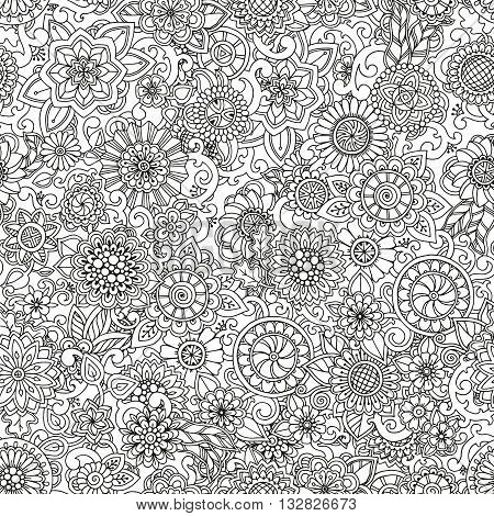 Seamless hand drawn pattern with flowers. Ornate pattern with abstract flowers and leaves. Doodle floral background. Zentangle inspired pattern. Black and white pattern for your business.