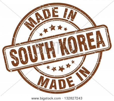 made in South Korea brown round vintage stamp.South Korea stamp.South Korea seal.South Korea tag.South Korea.South Korea sign.South.Korea.South Korea label.stamp.made.in.made in.