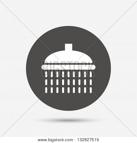 Shower sign icon. Douche with water drops symbol. Gray circle button with icon. Vector