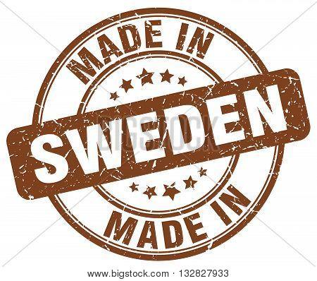 made in Sweden brown round vintage stamp.Sweden stamp.Sweden seal.Sweden tag.Sweden.Sweden sign.Sweden.Sweden label.stamp.made.in.made in.