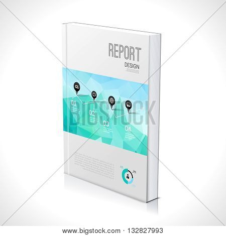 3D Business design template. Cover brochure book flyer magazine layout mockup geometric triangle polygonal, vector illustration.
