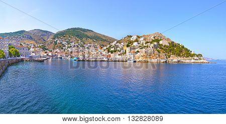 panoramic landscape of Hydra island Saronic Gulf Greece