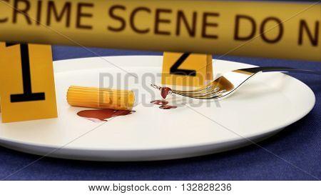 funny crime scene of murdered macaroni 3D rendering