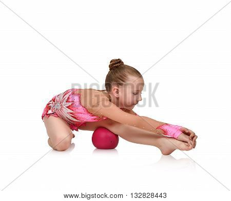 Girl Gymnast Doing Gymnastics