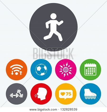 Wifi, like counter and calendar icons. Football ball, Roller skates, Running icons. Fitness sport symbols. Gym workout equipment. Human talk, go to web.
