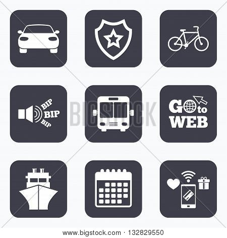 Mobile payments, wifi and calendar icons. Transport icons. Car, Bicycle, Public bus and Ship signs. Shipping delivery symbol. Family vehicle sign. Go to web symbol.