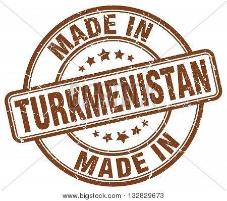 made in Turkmenistan brown round vintage stamp.Turkmenistan stamp.Turkmenistan seal.Turkmenistan tag.Turkmenistan.Turkmenistan sign.Turkmenistan.Turkmenistan label.stamp.made.in.made in.