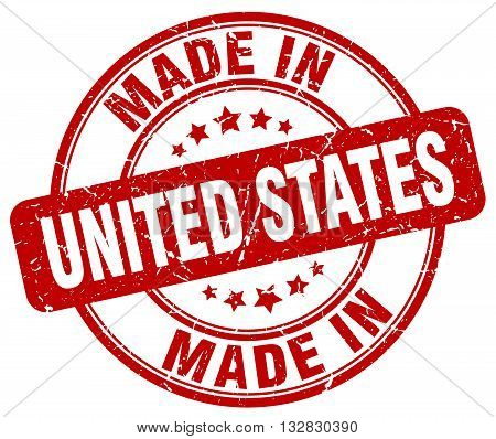 made in United States red round vintage stamp.United States stamp.United States seal.United States tag.United States.United States sign.United.States.United States label.stamp.made.in.made in.