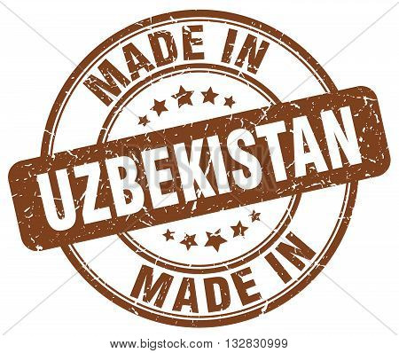 made in Uzbekistan brown round vintage stamp.Uzbekistan stamp.Uzbekistan seal.Uzbekistan tag.Uzbekistan.Uzbekistan sign.Uzbekistan.Uzbekistan label.stamp.made.in.made in.