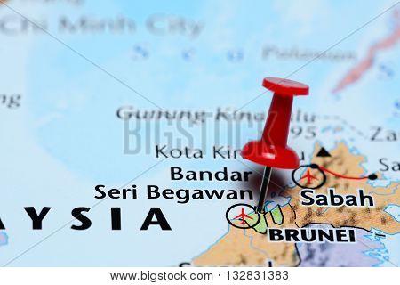 Bandar Seri Begawan pinned on a map of Asia poster