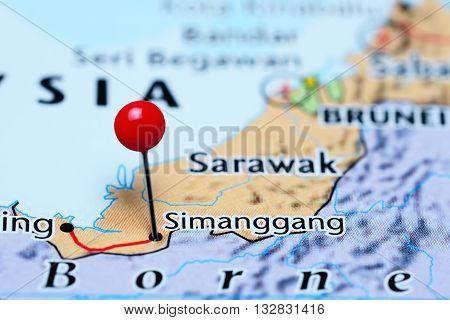 Simanggang pinned on a map of Malaysia