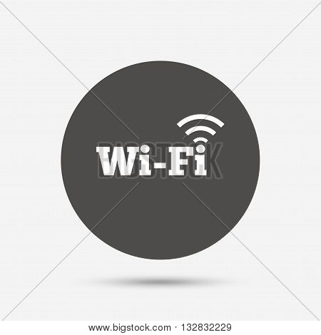 Free wifi sign. Wifi symbol. Wireless Network icon. Wifi zone. Gray circle button with icon. Vector