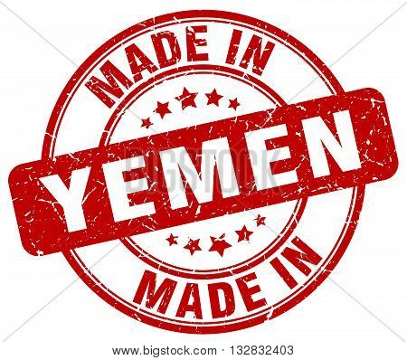 made in Yemen red round vintage stamp.Yemen stamp.Yemen seal.Yemen tag.Yemen.Yemen sign.Yemen.Yemen label.stamp.made.in.made in.