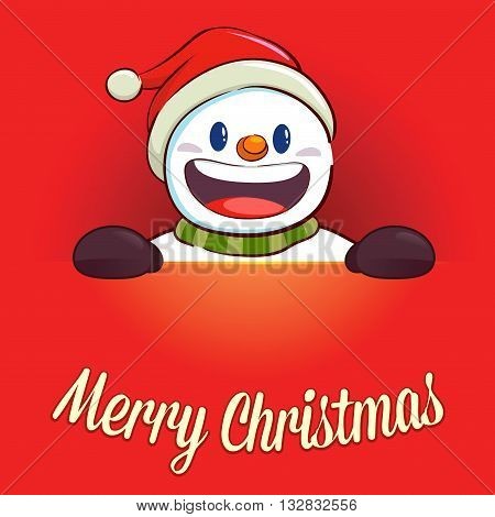 Vector stock of happy snowman in red christmas holiday greetings background