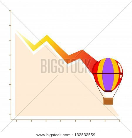 Vectors stock of declining business chart with hot balloon failure business concept