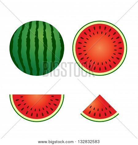Vector stock of delicious watermelon whole and sliced
