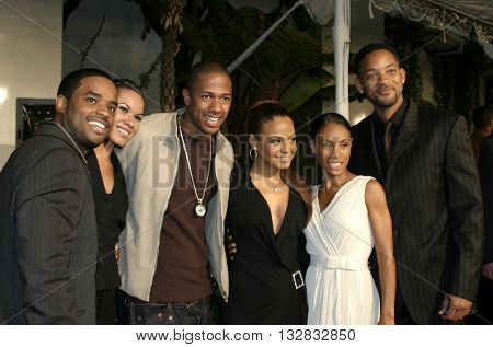 Larenz Tate, Will Smith, Jada Pinkett Smith, Nick Cannon and Christina Milian at the Los Angeles premiere of 'Ray' held at the Cinerama Dome in Hollywood, USA on October 19, 2004.