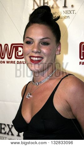 Pink at the 2nd Semi Annual Fashion Wire Daily's event NEXT at Mondrian Hotel's SkyBar in West Hollywood, USA on October 25, 2004.
