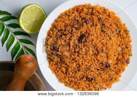 Sri Lankan pol sambal or coconut sambal