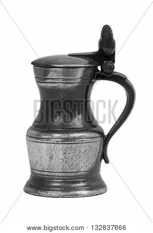 Old metal retro mug isolated on white background