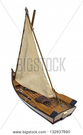 Wooden sailboat isolated on a white background