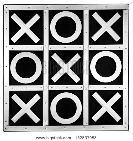 Black and silver tic tac toe board isolated