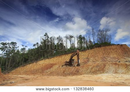 Environmental problems: destruction of tropical jungle rain forest for construction