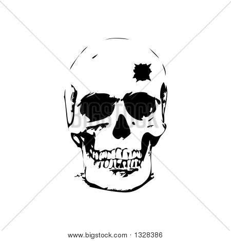 Bullet Hole Skull - Vector Illustration