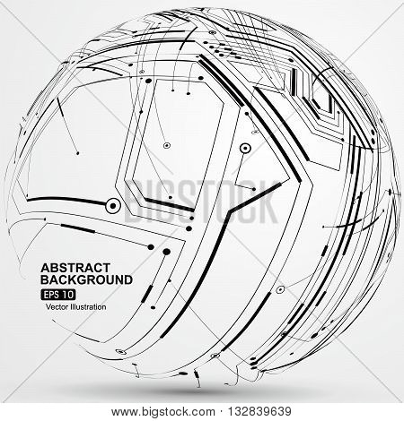 Point and line constructed the sphere wireframe technological sense, abstract illustration.