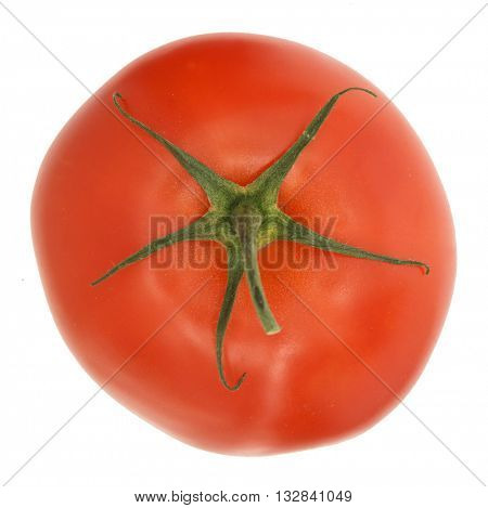 TOP TOMATO VIEW WITH STEM , ISOLATED ON WHITE