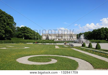 CHIEMSEE, GERMANY - MAY 11, 2011: View of Herrenchiemsee palace on May 11, 2011 in Chiemsee, Germany. It is a landmark palace in Germany and an imitation of Versailles palace.