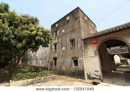 SHENZHEN, CHINA - MARCH 28, 2016: Door leading to Crane Lake Walled Village on March 28, 2016 in Shenzhen, China. It is a landmark Hakka village of national significance in Guangdong province.