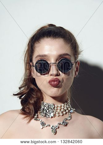 Young sexy emotional woman wear summer sunshine mirrored sunglasses, summer frock, swag and bright make up red lips, show emotions, Lifestyle portrait Urban fashion on white background