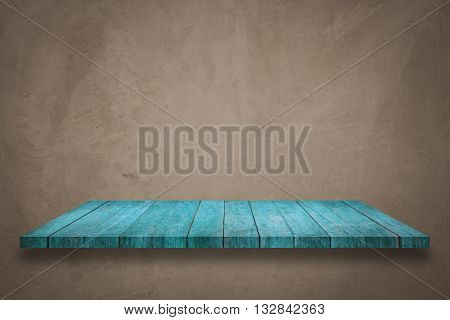 Top of blue wooden shelf on concrete background with filter, stock photo