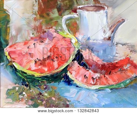 Texture Oil Painting, Still Life Fruit Watermelon And Grapes, Art, Painted Color Image, Wallpaper An