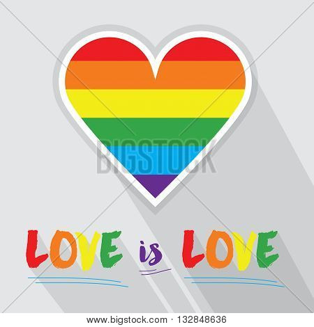 Rainbow pride flag Pattern in shape of heart and LOVE is LOVE message with long shadow